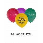 BALÃO LATEX  9'' CRISTAL PERSONALIZADO - PACOTE C/ 100 UNIDADES