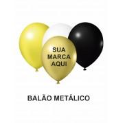 BALÃO DE LATEX 9'' METÁLICO PERSONALIZADO - PACOTE C/ 100 UNIDADES