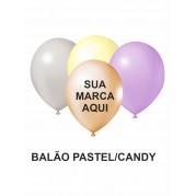 BALÃO DE LATEX 9'' PASTEL/CANDY PERSONALIZADO - PACOTE C/ 100 UNIDADES
