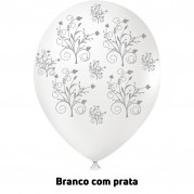 Arabesco 9'' Branco/Prata - Pct. 25 Unid.