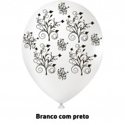 Arabesco 9'' Branco/Preto - Pct. 25 Unid.