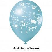 Fundo do Mar 9'' Azul Claro - Pct. 25 Unid.