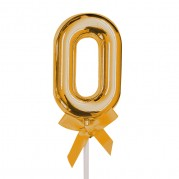 Topo de Bolo 0 a 9 5'' Ouro - Unid.