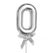 Topo de Bolo 0 a 9  5'' Prata - Unid.